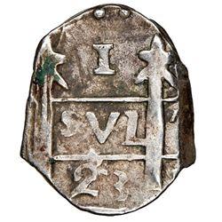 """Leon, Nicaragua, provisional """"imitation cob"""" 1 real, 1823-(PMPY), very rare, NGC XF 45."""