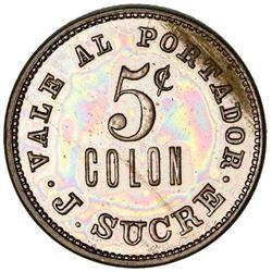 Colon, Panama, copper-nickel token, 5 centavos, J. Sucre (1880s?).