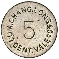 Panama, uniface incuse copper-nickel token, 5 centavos, Lum, Chang, Long & Co., rare.