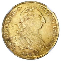 "Lima, Peru, gold bust 8 escudos, Charles III (second bust, ""rat nose""), 1768JM, NGC AU 58, finest kn"