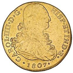 Lima, Peru, gold bust 8 escudos, Charles IV, 1807JP.