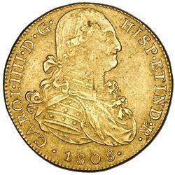 Lima, Peru, gold bust 8 escudos, Charles IV, 1808JP.