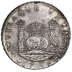 Lima, Peru, pillar 8 reales, Charles III, 1768JM, dot above left mintmark only.