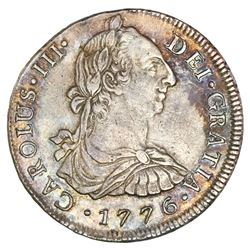 Lima, Peru, bust 8 reales, Charles III, 1776MJ, PCGS XF detail / cleaned.