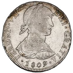 "Lima, Peru, bust 8 reales, Ferdinand VII transitional (large ""imaginary"" bust), 1809JP, king's name"
