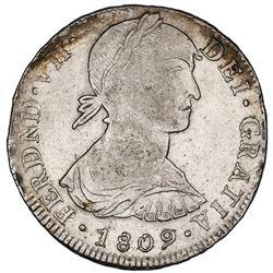 "Lima, Peru, bust 8 reales, Ferdinand VII transitional (large ""imaginary"" bust), 1809JP, king's name"