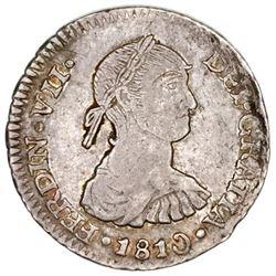 "Lima, Peru, bust 1/2 real, Ferdinand VII (""imaginary"" bust), 1810JP, rare."