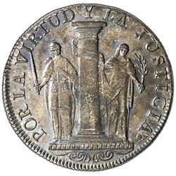 "Lima, Peru, provisional 8 reales, 1822JP, ""Peru Libre,"" rare, NGC MS 63."