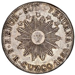 Cuzco, Peru (South Peru), 8 reales, 1838MS, NGC AU 53, ex-Jones.