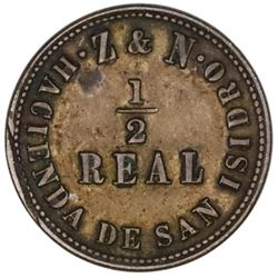 Lima, Peru, copper 1/2 real token, Hacienda de San Isidro - Z & N / steamship (late 1800s).