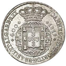 "Lisbon, Portugal, cruzado novo (480 reis, denomination as ""400""), Joao VI, 1819."