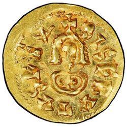 Spain (Visigoths), gold tremissis, Sisebut (612-621 AD), Emerita mint (Merida, Badajoz), PCGS MS64.