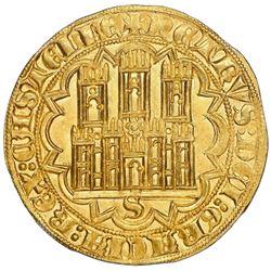 """Seville, Spain (Castile and Leon), gold dobla of 35 maravedis, Pedro I (""""the Cruel,"""" first period, 1"""