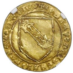 Seville, Spain (Castile and Leon), gold dobla de la banda, Juan II (1406-54), struck 1442-54, S at t