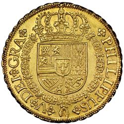 Seville, Spain, gold milled 8 escudos, Philip V, 1729P, NGC MS 62, finest known in NGC census.