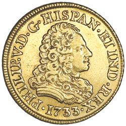 Madrid, Spain, gold bust 2 escudos, Philip V, 1733JF.