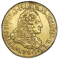 Seville, Spain, gold bust 2 escudos, Philip V, 1740PJ.
