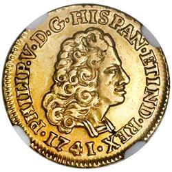 Madrid, Spain, gold bust 1 escudo, Philip V, 1741JF, NGC AU 55.