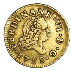 Madrid, Spain, gold bust 1/2 escudo, Ferdinand VI, 1758JB.