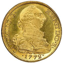 Seville, Spain, gold bust 8 escudos, Charles III, 1772CF, NGC MS 64*.