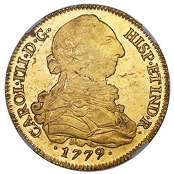 Seville, Spain, gold bust 8 escudos, Charles III, 1779/7CF, NGC MS 63.