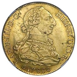 Seville, Spain, gold bust 8 escudos, Charles III, 1788C, dot after R, NGC AU 55.