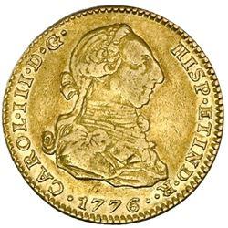 Madrid, Spain, gold bust 2 escudos, Charles III, 1776/4PJ, PCGS XF45.