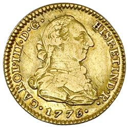 Seville, Spain, gold bust 2 escudos, Charles III, 1776/5CF, PCGS AU50.