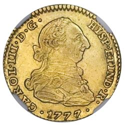 Seville, Spain, gold bust 2 escudos, Charles III, 1777/6CF, NGC AU 58, finest and only example in NG