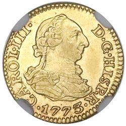Seville, Spain, gold bust 1/2 escudo, Charles III, 1773CF, NGC MS 62, finest known in NGC census.