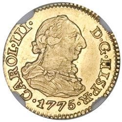 Seville, Spain, gold bust 1/2 escudo, Charles III, 1775CF, NGC MS 62, finest known in NGC census.