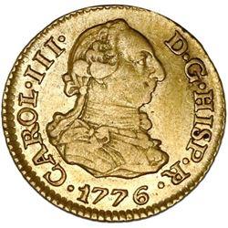 Madrid, Spain, gold bust 1/2 escudo, Charles III, 1776PJ, PCGS AU55.