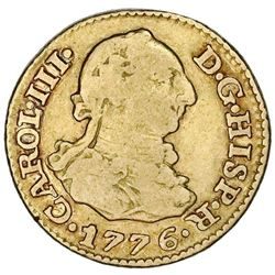 Madrid, Spain, gold bust 1/2 escudo, Charles III, 1776PJ.