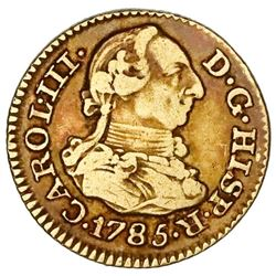 Madrid, Spain, gold bust 1/2 escudo, Charles III, 1785DV.