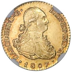 Madrid, Spain, bust 1 escudo, Charles IV, 1807FA, NGC MS 63.
