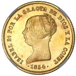 Madrid, Spain, gold 100 reales, Isabel II, 1854, NGC MS 64.