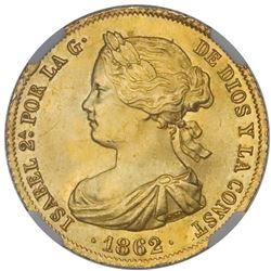 "Madrid, Spain, gold 100 reales, Isabel II, 1862, NGC MS 66, ""top pop."""
