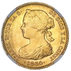 "Madrid, Spain, gold 100 reales, Isabel II, 1864, NGC MS 65, ""top pop."""
