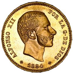 Madrid, Spain, gold 25 pesetas, Alfonso XII, 1884SM, NGC MS65, finest known in NGC census.