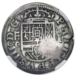 Segovia, Spain, milled 1 real, Philip III, 1607C, no dots in date, with private crowned-S countermar