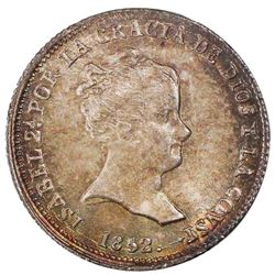 Seville, Spain, 1 real, Isabel II, 1852RD, PCGS MS65+.