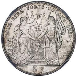 Bern, Switzerland, medallic 5 francs, 1876, Lausanne Shooting Festival, NGC MS 64.