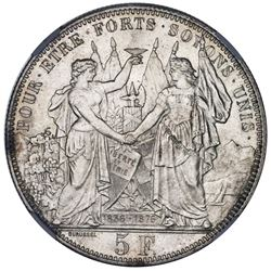 Bern, Switzerland, medallic 5 francs, 1876, Lausanne Shooting Festival, NGC MS 64.