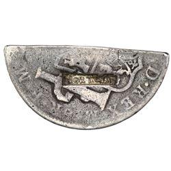 Tortola, 4 shillings 1-1/2 pence, countermark TORTOLA inside contoured rectangular indent (Type I, 1