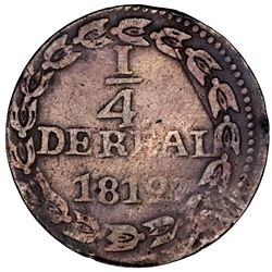 Caracas, Venezuela, copper 1/4 real, 1812, broad flan, rare.