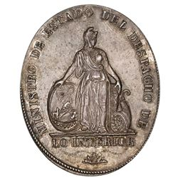 Potosi, Bolivia, oval silver medal, ca. 1830, Department of the Interior, scarce.