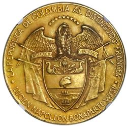 Colombia, large gold medal, 1904, tribute to Lucien Bonaparte-Wyse for Panama canal project, very ra