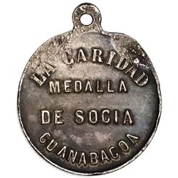 Guanabacoa, Cuba, small silver medal with integrated loop, 1882.