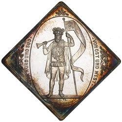 Saxony (German States), silver shooting medal klippe, 1884, Leipzig Shooting Festival, by Helfricht.