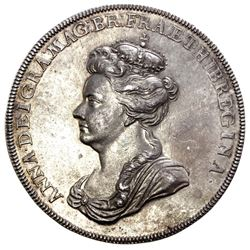 London, England, silver medal, Anne, 1702, defeat of French and Spanish at Vigo Bay, Spain, by J. Cr